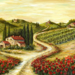 Tuscan Road Poppies Painting Fine Art