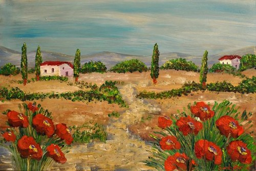 Tuscany Poppies Painting Sarah Kadlic Fine Art