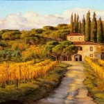 Tuscany Vineyard Painting Casa Vita Bella