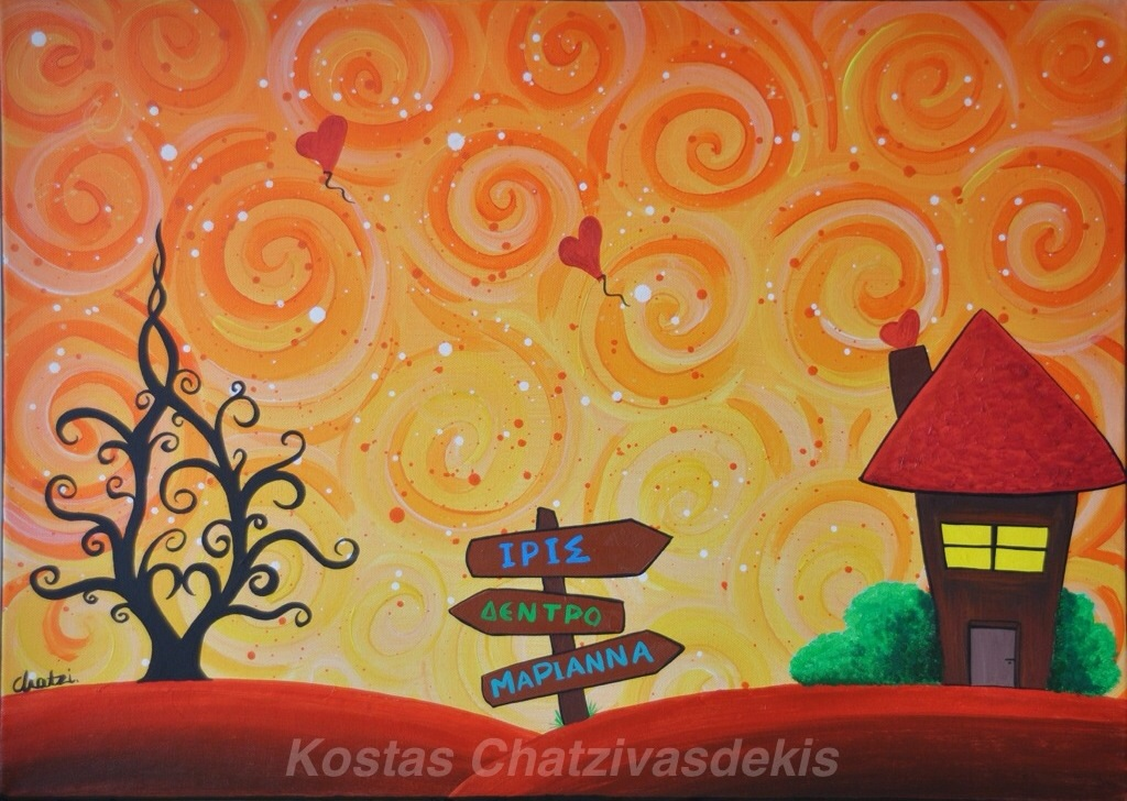 Twins Original Acrylic Painting Canvas Sold