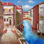Venice Canals Italy Oil Painting