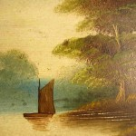 Victorian Era Century Painting River Landscape Thames From