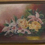 Victorian Yellow Roses Orchids Original Oil Painting Early
