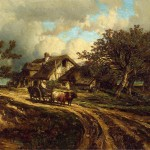 Village Landscape Painting Dupre Jules Oil