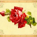 Vintage Flower Clip Art Red Rose Graphic From Painting Book
