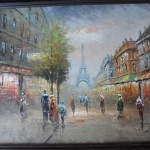 Vintage Oil Painting Paris Eiffel Tower French Flea Market