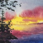 Watercolor Miniature Aceo Original Lake Sunset Painting