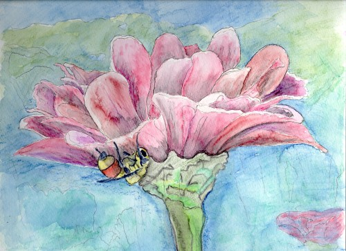 Watercolor Painting Flower Bee Sister