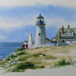 Watercolor Painting Pemaquid Point Lighthouse Richard Moore
