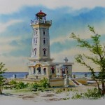 Watercolor Painting Point Abino Lighthouse Lake Erie Canada