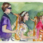Watercolor Painting The Marching Band Paper