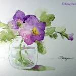 Watercolor Paintings Roseann Hayes Petunias