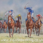 Watercolour Painting Horse Racing Scene
