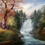 Waterfall Landscape Oil Painting Tidebuy