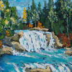 Waterfall Paintings Carved Relief Sculpture Luminous