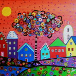 Whimsical Town Painting Fine Art Print