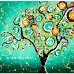 Whimsical Turquoise Tree Life Art Print Signed Luulla
