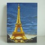 White Bazaar Eiffel Tower Night Painting