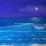 Whittle Art Purple Sky Blue Sea Original Acrylic Painting Canvas