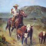 Wild West Cowboy Painting Oil Framed Cydneys Antiques