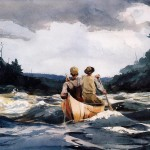 Winslow Homer Paintings Canoe The Rapids Painting