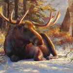 Winter Bull Moose Painting Karen Whitworth Gallery