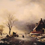 Winter Scene Skaters Oil Painting Reproduction