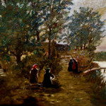 Women Heading For The Dock From Clean Oil Painting Ruby Lane