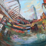 Year The Boat Oil Painting Castlefield Evening Sun