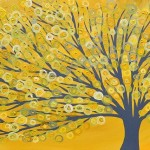 Yellow Grey Abstract Tree Painting Louise Mead From Whimsical