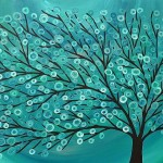 About The Art Title Teal Turquoise Tree Media Acrylic Canvas