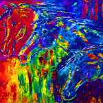 Abstract Horse Painting Colorful Equine Art Colorado Artist