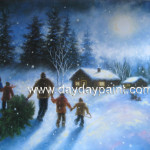 Christmas Oil Paintings Hand Painted
