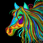 Colorful Horse Head Drawing Fine Art Print