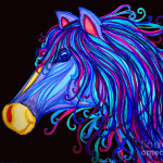 Colorful Horses Head Drawing Fine Art Print