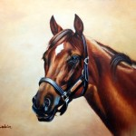 Details About Signed Animals Horse Head Oil Board Painting
