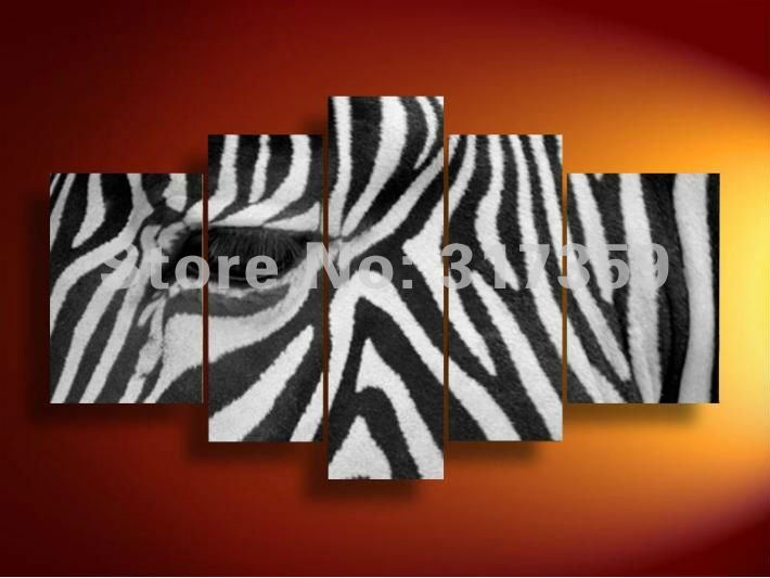 Free Shipping Animals Abstract Canvas Art Zebra Set Oil Paintings