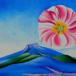 Georgia Keeffe Hollyhock Pink Pedernal Art For Sale