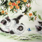 Kittens Play Asian Painting