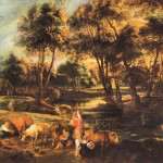 Landscape Cows And Duck Hunters Reproduction Oil Painting