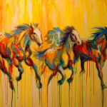 Large Colorful Painting Galloping Horses