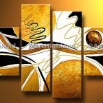New Modern Abstract Oil Paintings Painting Canvas Wall Art Set Signed