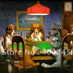 Oil Painting Dogs Famous Home Deco Playing Poker