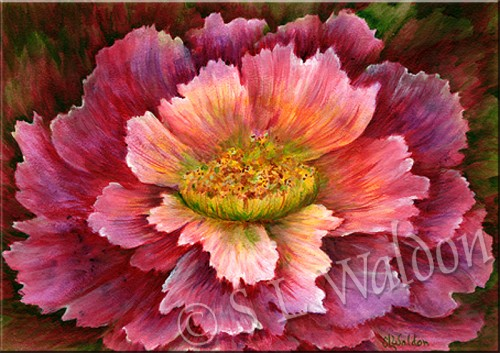 Original Painting Blooming Out Loud Bright Red Flower Gift Idea Decor