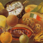 Painting Reproduction Stilllife Parroy And Flag Frida Kahlo