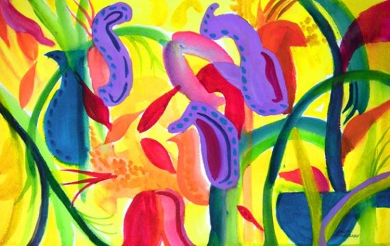 Picasso Garden Original Watercolor Painting