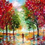 Romantic Textured Paintings Couples Walking Together