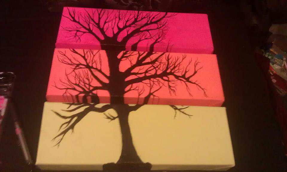 Separated Canvas Tree Painting Cit Cat Kate