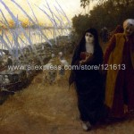 The Nile Veiled Burqa Couple Holding Hands Hand Painted Canvas Art