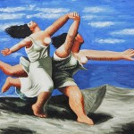 Two Women Running The Beach Pablo Picasso Oil Painting